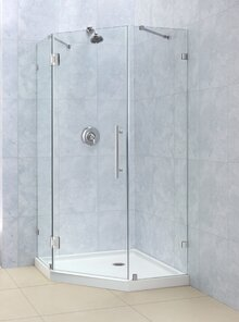 hinged doors are often used with neoangle shower enclosures and can be installed to swing in or out unlike pivot doors hinged doors have hinges on the