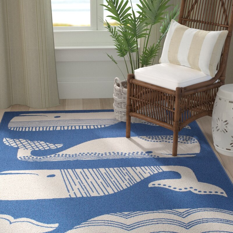 Janiyah Patterned Whales Bluewhite Indooroutdoor Area Rug