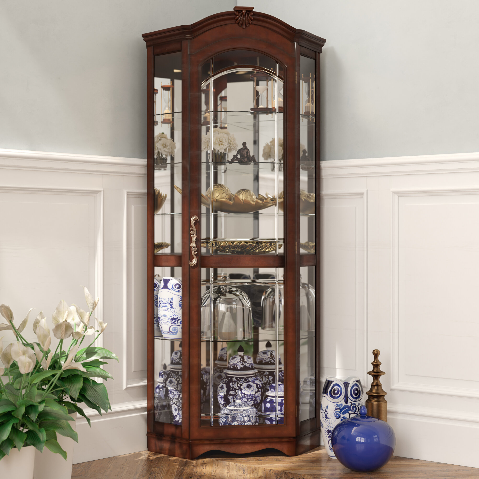 Darby Home Co Purvoche Lighted Corner Curio Cabinet Reviews Wayfair