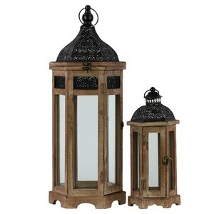 2 Piece Wood Lantern Set