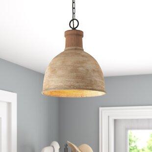 Wood pendant lights youll love wayfair sherise 1 light dome pendant aloadofball Images
