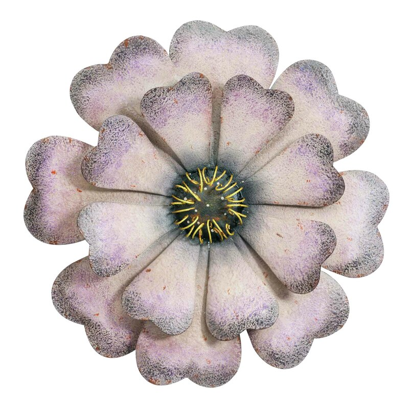 August Grove Oversized Purple and White Metal Flower Wall Décor ...
