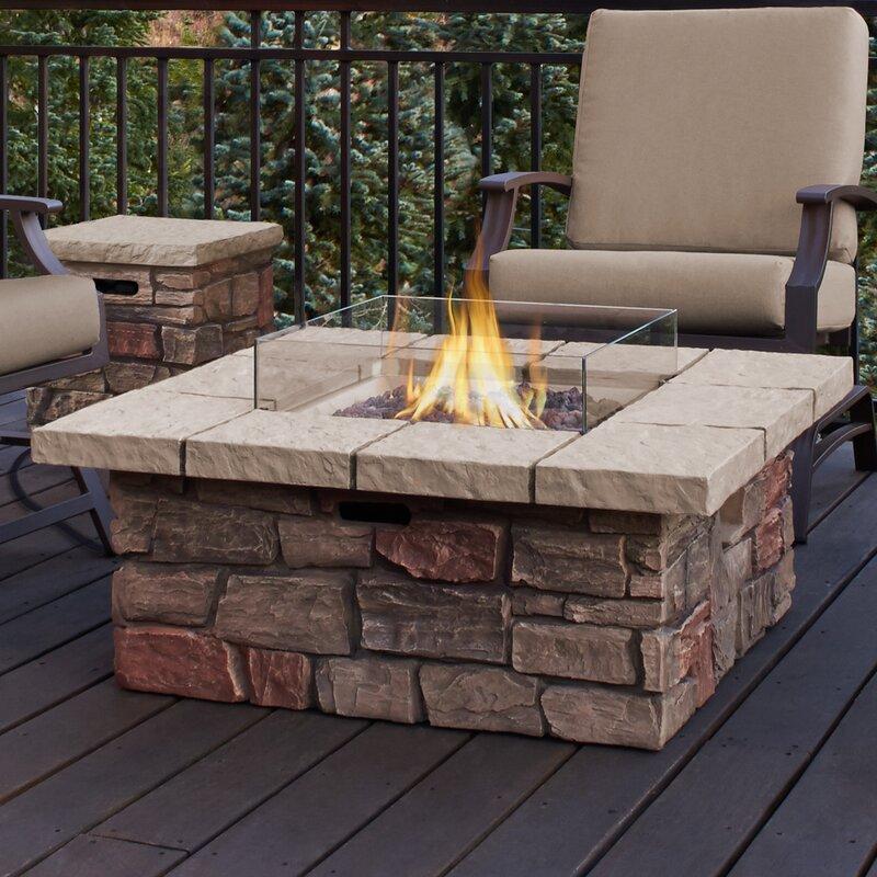 real flame sedona concrete propane natural gas fire pit table wayfair. Black Bedroom Furniture Sets. Home Design Ideas