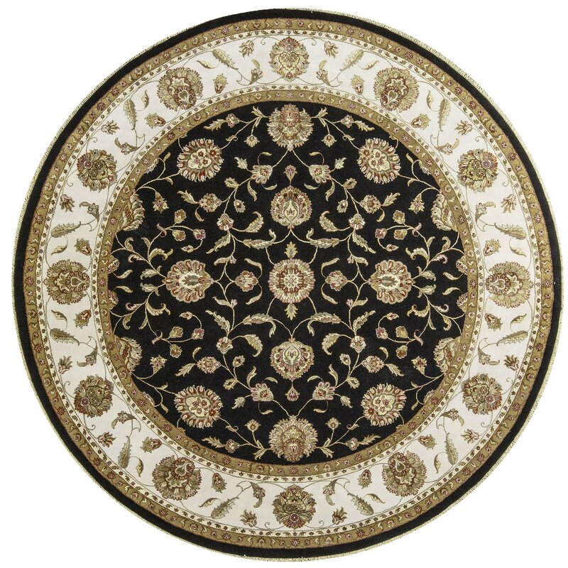 Bokara Rug Co., Inc. One-of-a-Kind Dharma Handwoven Round 911 Wool/Silk Beige/Black Area Rug