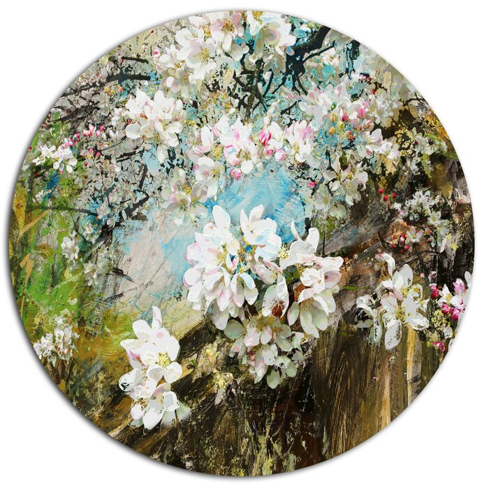 Designart apple blossoms with white flowers oil painting print on apple blossoms with white flowers oil painting print on metal mightylinksfo Gallery