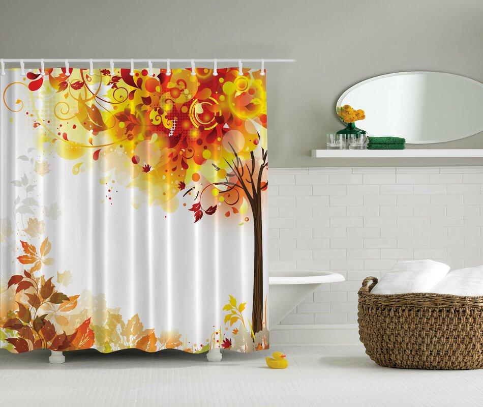 Ambesonne Fall Leaves Print Shower Curtain & Reviews | Wayfair