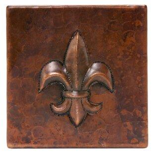 4 X Hammered Copper Fleur De Lis Tile In Oil Rubbed Bronze Set Of 8