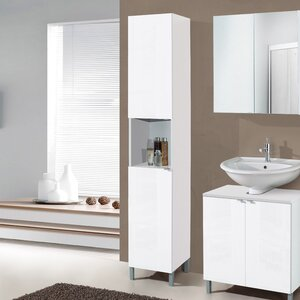 milan 32 x 182cm free standing tall bathroom cabinet