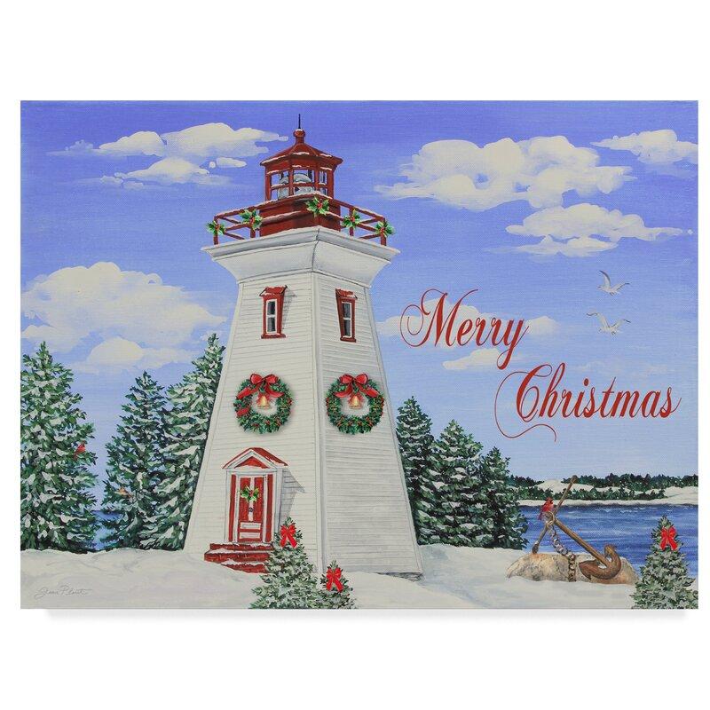 Trademark Art 'Merry Christmas Lighthouse' Graphic Art Print on Wrapped Canvas | Wayfair