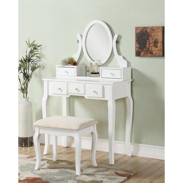 beachcrest home zeke wood makeup vanity set with mirror reviews wayfair. Black Bedroom Furniture Sets. Home Design Ideas