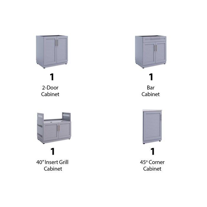 Peachy Outdoor Kitchen Aluminum Slate Grey 154 W X 24 D 7 Piece Set With Countertops Download Free Architecture Designs Rallybritishbridgeorg