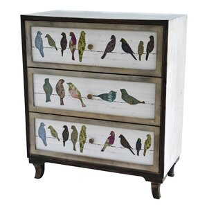 Carnesville Birds On A Wire 3 Drawer Painted Chest