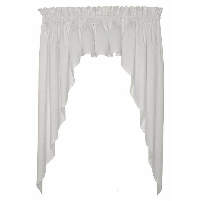 Astoria Grand Martha Solid Colour 3 Piece Tailored Swags Filler Valance Window Curtain Set Reviews Wayfair Ca