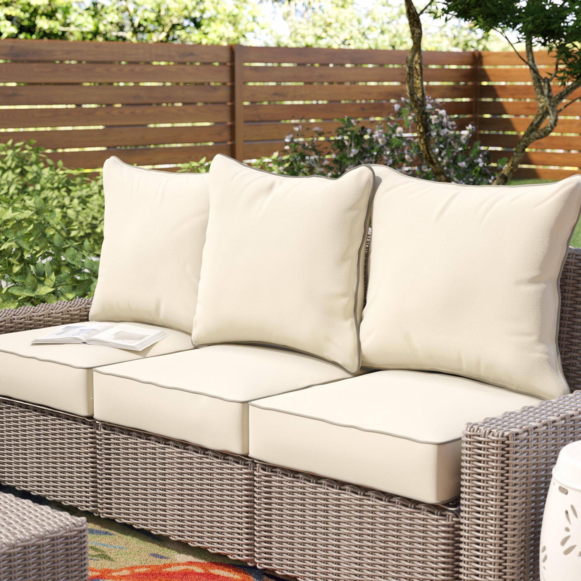 Beachcrest Home 6 Piece Piped Indoor Outdoor Sunbrella Sofa Cushion Set Reviews Wayfair