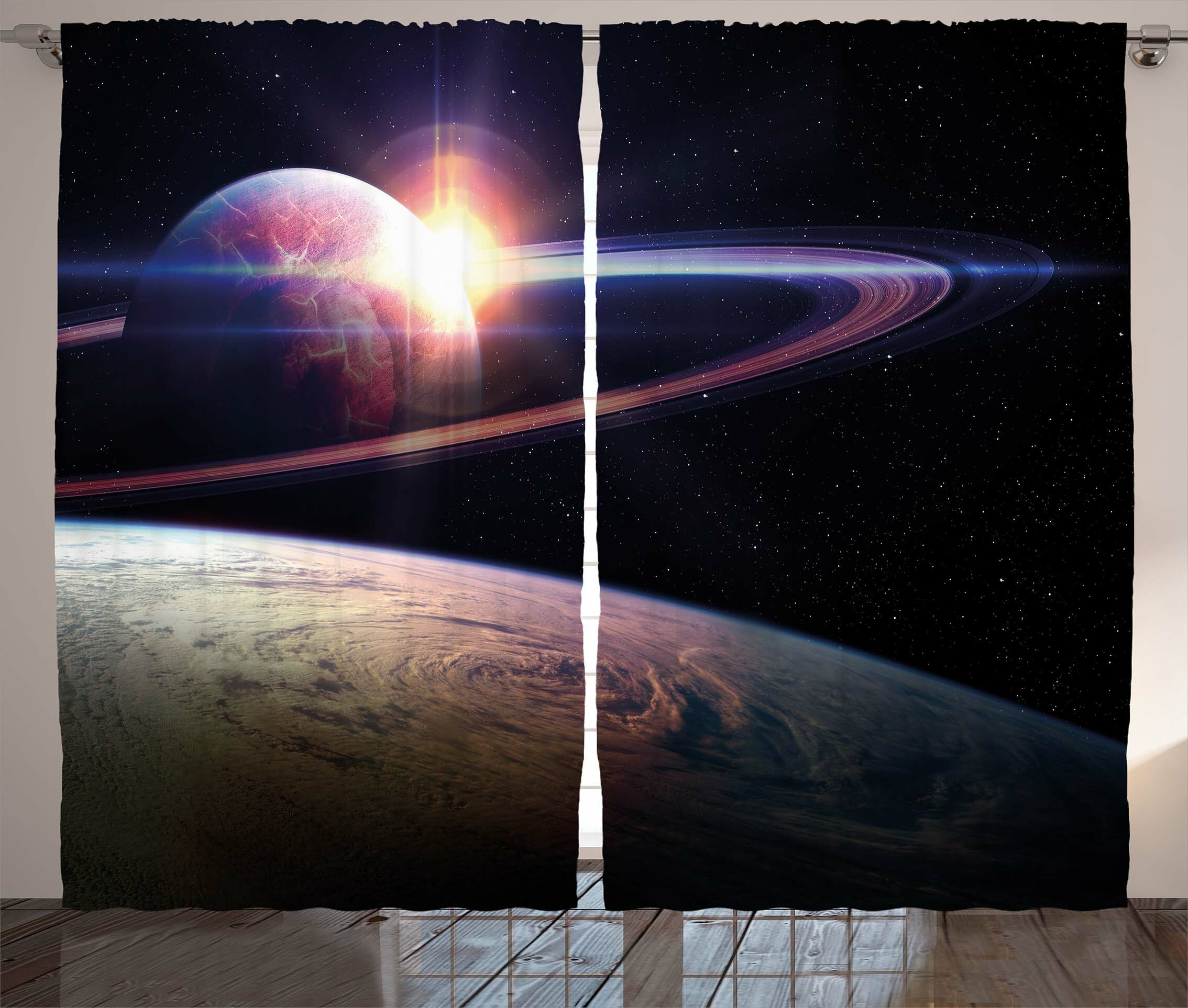 Katlynn Galaxy Sunset in Outer Space Universe Saturn View from Planet Earth Atmosphere in Spaceship Graphic Print & Text Semi-Sheer Rod Pocket Curtain ...