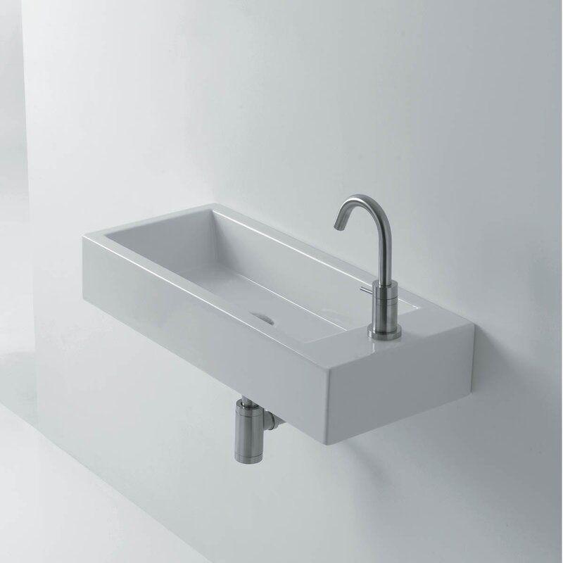 "Bathroom Sinks That Mount On The Wall ws bath collections hox ceramic 19.7"" wall mount bathroom sink"