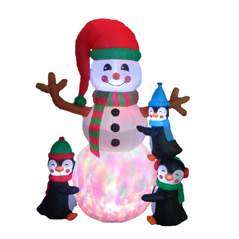 Attractive Christmas Inflatable Part - 11: Christmas Inflatable Penguins Building Snowman