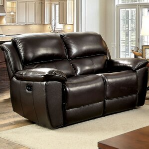Erie Leather Reclining Loveseat by Red Barrel Studio