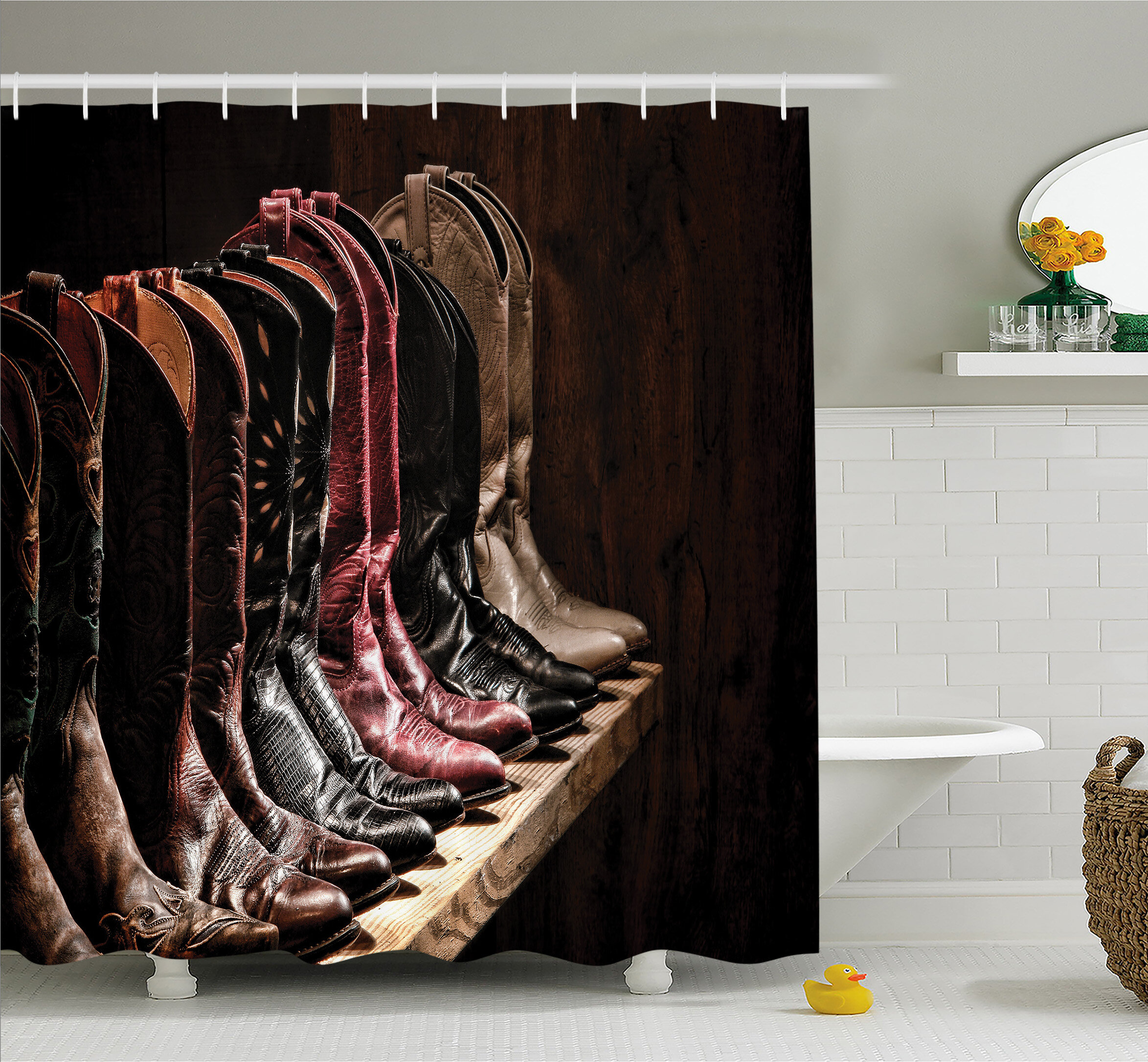 Ambesonne Western Various Type Of Embellished Rodeo Fancy Leather Boots Collection Image Shower Curtain Set