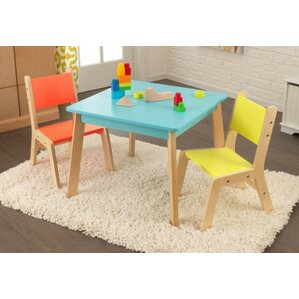 Modern Kidu0027s 3 Piece Square Table And Chair Set