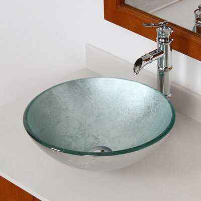 Marvelous Hand Painted Foil Round Bowl Circular Vessel Bathroom Sink