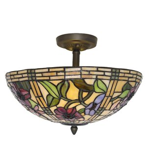 Stained glass ceiling light wayfair paule tiffany style stained glass peonies 2 light semi flush mount aloadofball Choice Image