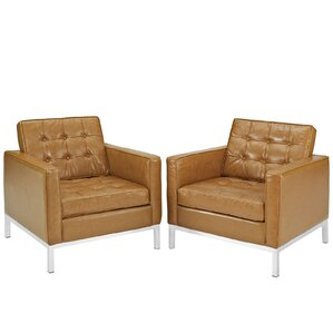 Gayatri Contemporary Leather Armchair (Set of 2) by Orren Ellis