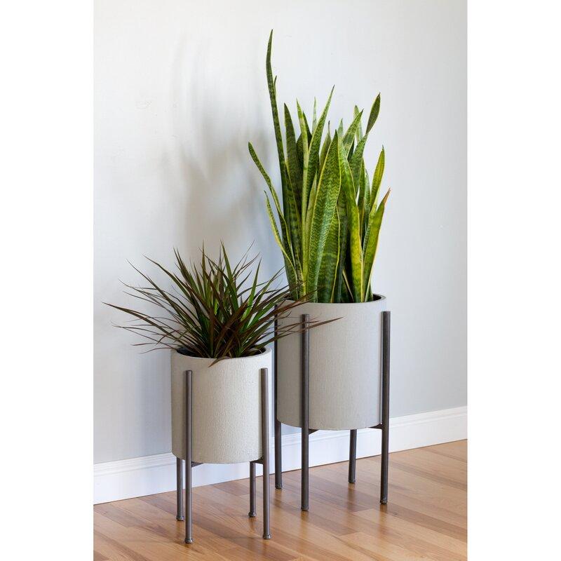 Flower Pot Stand Designs : Aspire tania mid century piece iron pot planter set