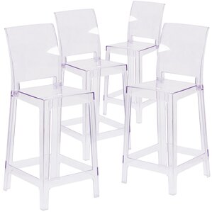 Darchelle Transparent Crystal Counter Bar Stool with Square Back by Willa Arlo Interiors