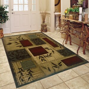 Abell Beige/Wine Red Area Rug
