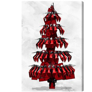 Shoe Tree Black Graphic Art on Wrapped Canvas