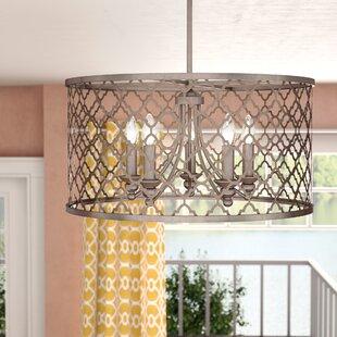 Drum chandeliers youll love wayfair aniyah 5 light drum chandelier aloadofball Gallery