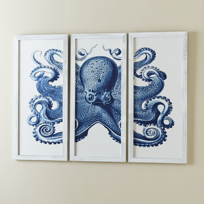 Blue Octopus Tryptic Wall Art