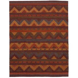 Mowery Handmade Kilim Wool Dark Red Area Rug