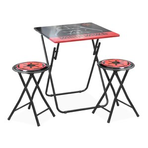 Kids 3 Piece Folding Table And Stool Set
