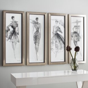 U0027Fashion Sketchbook Artu0027 4 Piece Framed Graphic Art Set