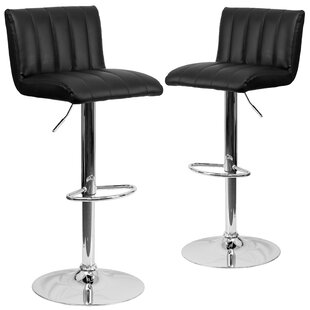 Milardo Adjustable Height Swivel Bar Stool (Set of 2)