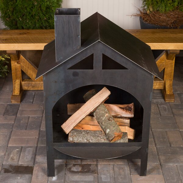 Ember haus ember haus steel wood burning outdoor fireplace for Foyer exterieur acier