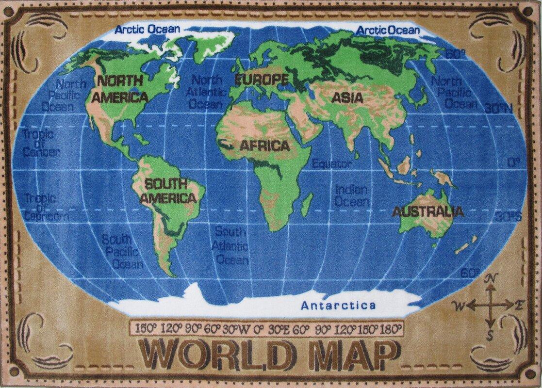 Fun Rugs Supreme World Map Kids Rug Reviews Wayfair - Image of world map for kids