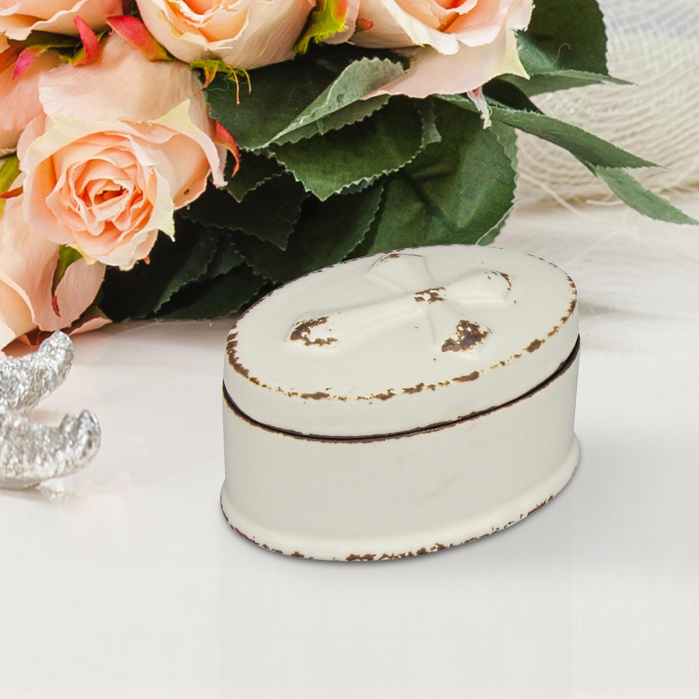 Winston Porter Small Oval Worn White Ceramic Cross Trinket Box | Wayfair