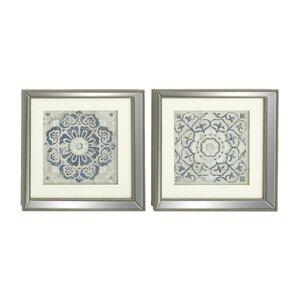 2 Piece Polystone Mirror Framed Wall Art Set (Set Of 2)