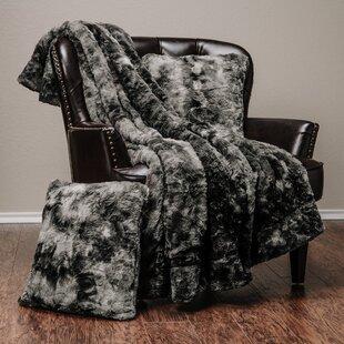 Trio Super Soft Fuzzy Faux Fur Throw Blanket and Pillow Cover Set de1ecf477