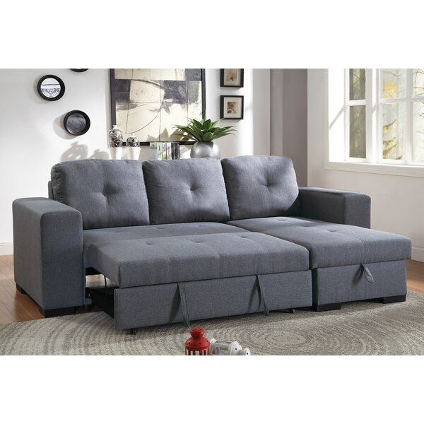 Ivy Bronx Buchman Linen Like Reversible Sectional With Pull Out Bed Reviews Wayfair