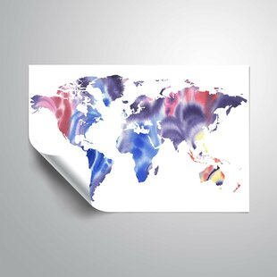 Large world map wall decal wayfair gillham blue purple world map wall decal gumiabroncs Images