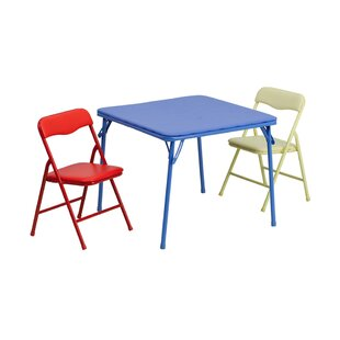 River Folding Kids 3 Piece Writing Table And Chair Set