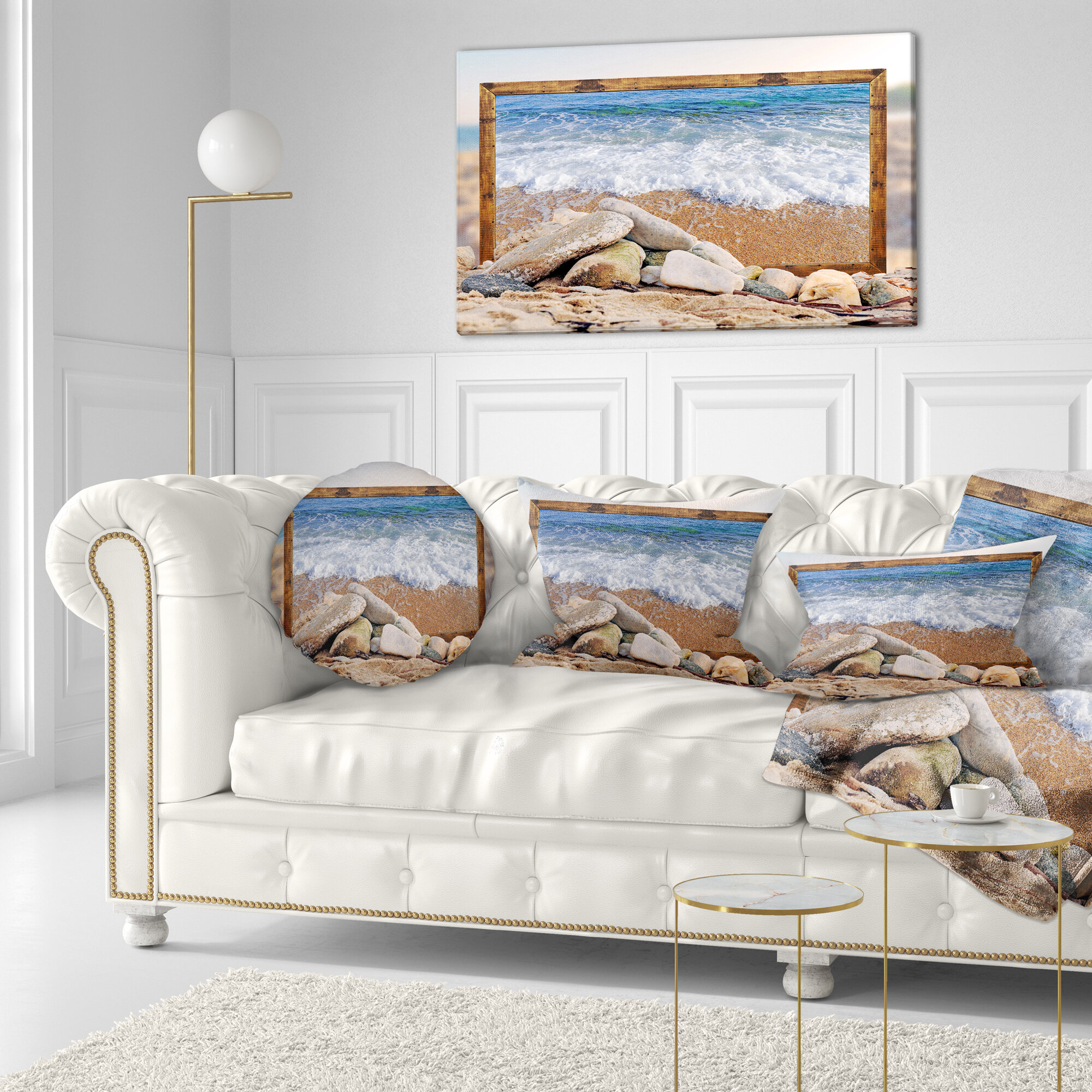 East Urban Home Seashore Framed Effect Waves And Rocks Throw