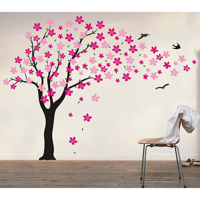 pop decors drifting flowers and birds tree wall decal & reviews