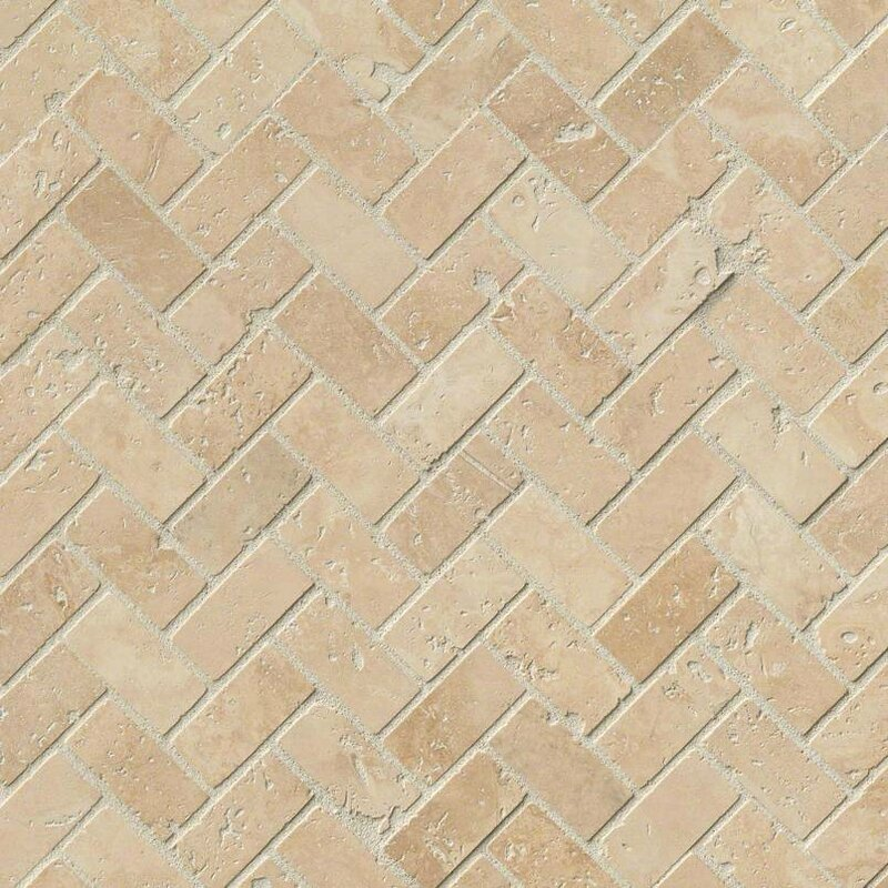 Tuscany Herringbone Honed Random Sized Travertine Tile In Beige