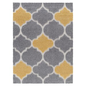 Swedish Hill Platinum Shag Gray/Yellow Area Rug