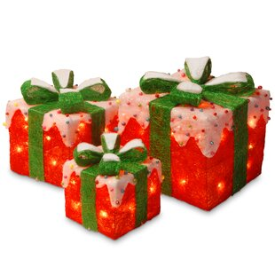 3 piece gift box christmas decoration set